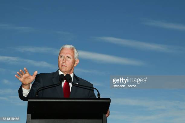 Vice President Mike Pence speaks during a press conference at Kirribilli House on April 22 2017 in Sydney Australia Mr Pence will meet with Prime...