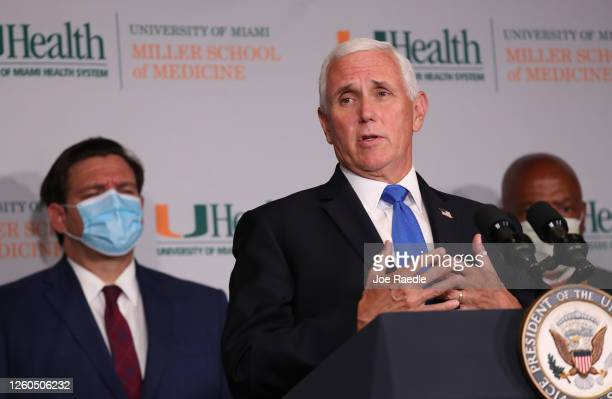 Vice President Mike Pence speaks during a press conference at the the University of Miami Miller School of Medicine on July 27 2020 in Miami Florida...