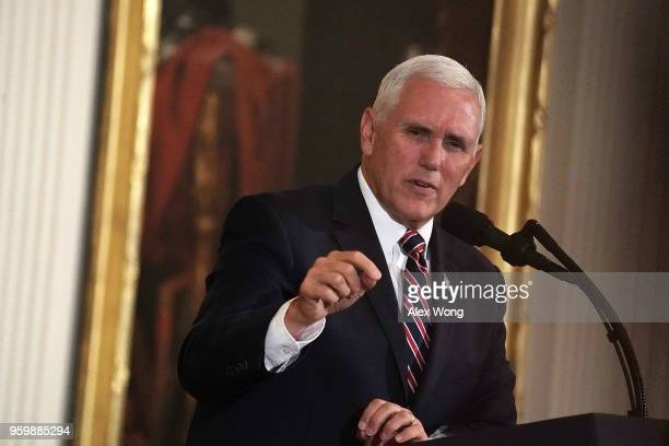 S Vice President Mike Pence speaks during a summit at the East Room of the White House May 18 2018 in Washington DC The White House hosted a summit...