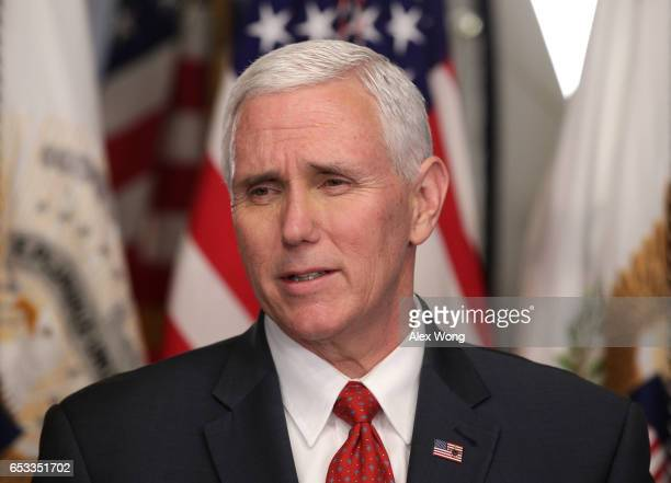 Vice President Mike Pence speaks during a swearingin ceremony in his ceremonial office at Eisenhower Executive Building March 14 2017 in Washington...