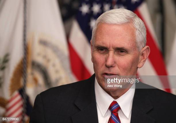 S Vice President Mike Pence speaks during a swearingin ceremony in the Vice President's ceremonial office at Eisenhower Executive Office Building...