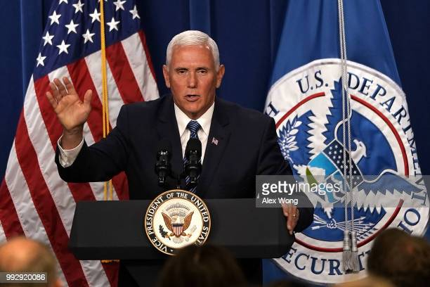 S Vice President Mike Pence speaks during a visit to the US Immigration and Customs Enforcement agency headquarters on July 6 2018 in Washington DC...