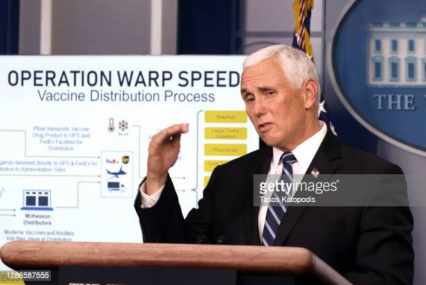 Vice President Mike Pence speaks during a White House Coronavirus Task Force press briefing in the James Brady Press Briefing Room at the White House...