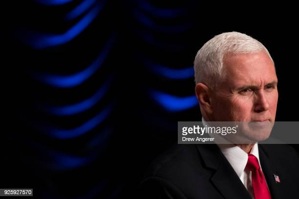 Vice President Mike Pence speaks during an event to mark the 15th anniversary of the Department of Homeland Security March 1 2018 in Washington DC...