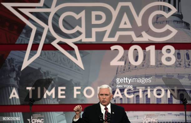 S Vice President Mike Pence speaks during CPAC 2018 February 22 2018 in National Harbor Maryland The American Conservative Union hosted its annual...