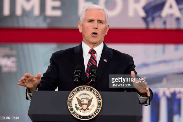 Vice President Mike Pence speaks during the 2018 Conservative Political Action Conference at National Harbor in Oxon Hill Maryland on February 22...