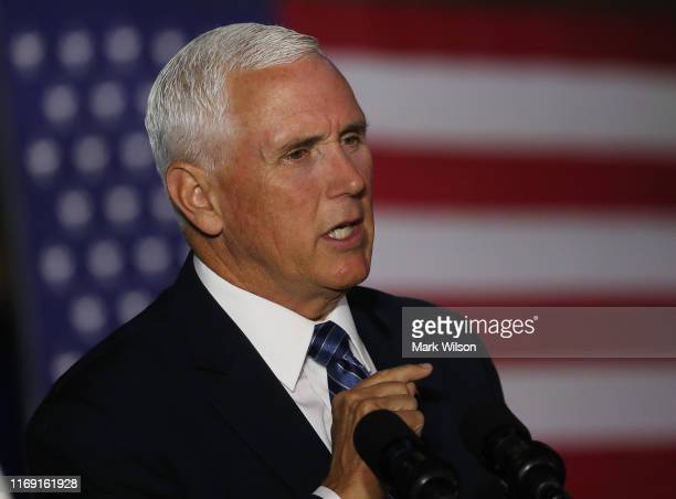 S Vice President Mike Pence speaks during the 6th meeting of the National Space Council on Leading the Next Frontier at the National Air and Space...