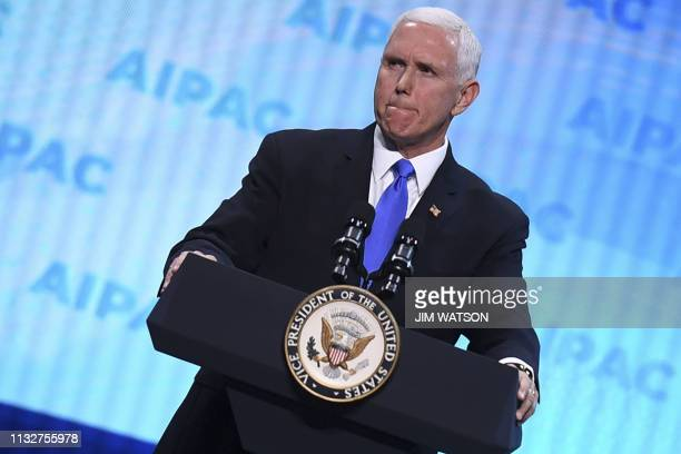 US Vice President Mike Pence speaks during the AIPAC annual meeting in Washington DC on March 25 2019