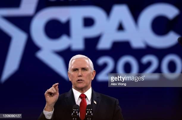 S Vice President Mike Pence speaks during the annual Conservative Political Action Conference at Gaylord National Resort Convention Center February...