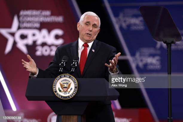 Vice President Mike Pence speaks during the annual Conservative Political Action Conference at Gaylord National Resort & Convention Center February...