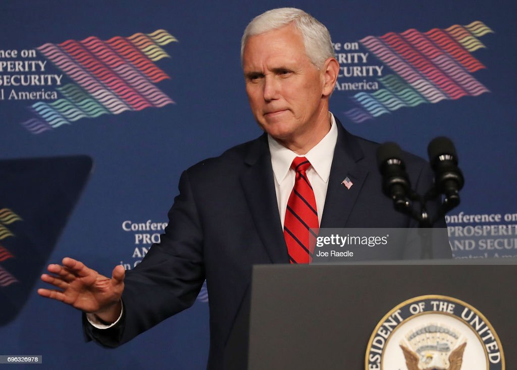 Vice President Pence Speaks At Conference On Prosperity And Security In Central America : News Photo