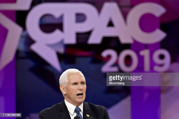 US Vice President Mike Pence speaks during the Conservative Political Action Conference in National Harbor Maryland US on Friday March 1 2019...