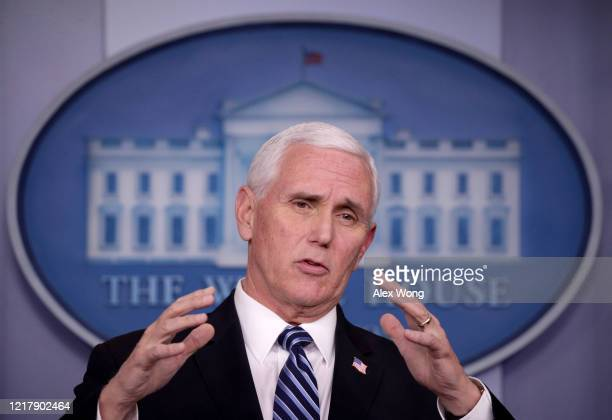 S Vice President Mike Pence speaks during the daily coronavirus briefing in the Brady Press Briefing Room at the White House on April 09 2020 in...