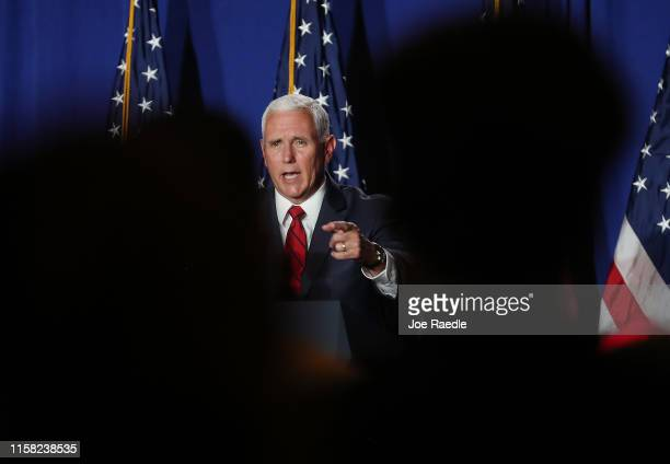 Vice President Mike Pence speaks during the Donald J Trump for President Latino Coalition Rollout at the DoubleTree by Hilton Hotel Miami Airport...