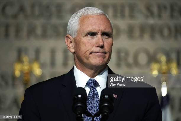 S Vice President Mike Pence speaks during the fourth meeting of the National Space Council at National Defense University at Fort McNair October 23...