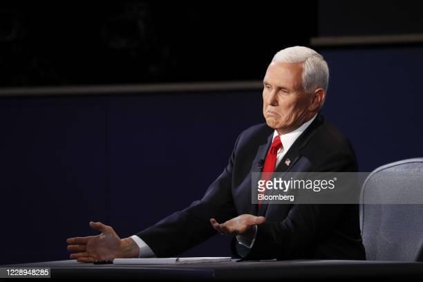 Vice President Mike Pence speaks during the U.S. Vice presidential debate at the University of Utah in Salt Lake City, Utah, U.S., on Wednesday, Oct....