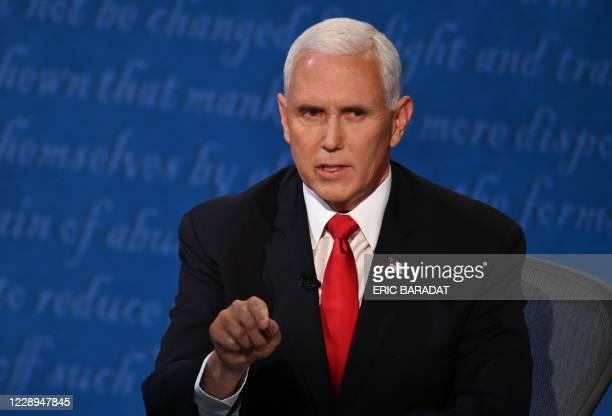 Vice President Mike Pence speaks during the vice presidential debate in Kingsbury Hall at the University of Utah on October 7 in Salt Lake City, Utah.