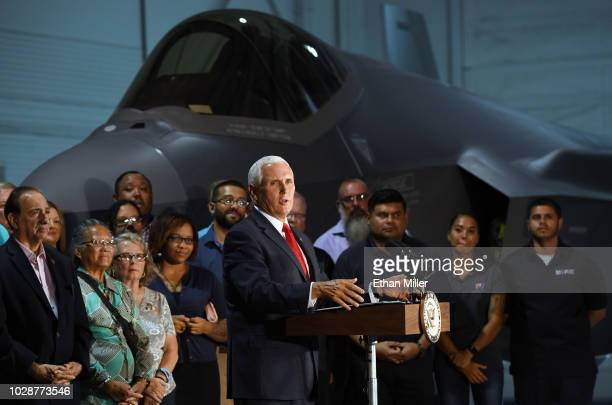 S Vice President Mike Pence speaks in front of an F35 Lightning II fighter jet at Nellis Air Force Base on September 7 2018 in Las Vegas Nevada Pence...