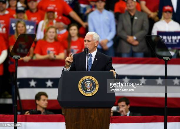 S Vice President Mike Pence speaks on stage during a campaign rally held by US President Donald Trump at the Target Center on October 10 2019 in...