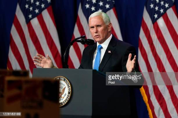 Vice President Mike Pence speaks on the first day of the Republican National Convention at the Charlotte Convention Center on August 24, 2020 in...