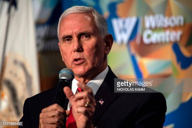 US Vice President Mike Pence speaks on the future of the US relationship with China at the Wilson Center's inaugural Frederic V Malek Public Service...