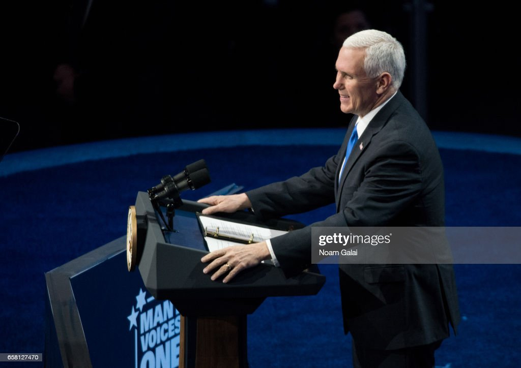 U.S. Vice President Mike Pence speaks onstage at the AIPAC 2017 Convention on March 26, 2017 in Washington, DC.