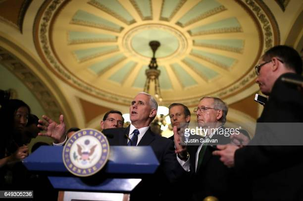 Vice President Mike Pence speaks to reporters during a news conference on Capitol Hill following a policy lunch on March 7, 2017 in Washington, DC....