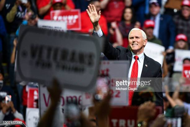Vice President Mike Pence speaks to supporters before President Donald Trump took the stage during a Keep America Great rally on February 20, 2020 in...
