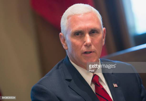 US Vice President Mike Pence speaks to the media during a meeting with Amir Sabah alAhmed alJaber alSabah of Kuwait at the White House September 7...