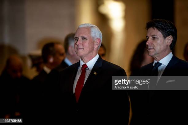Vice President Mike Pence speaks with Italian Prime Minister Giuseppe Conte during a meeting at Palazzo Chigi on January 24, 2020 in Rome, Italy....