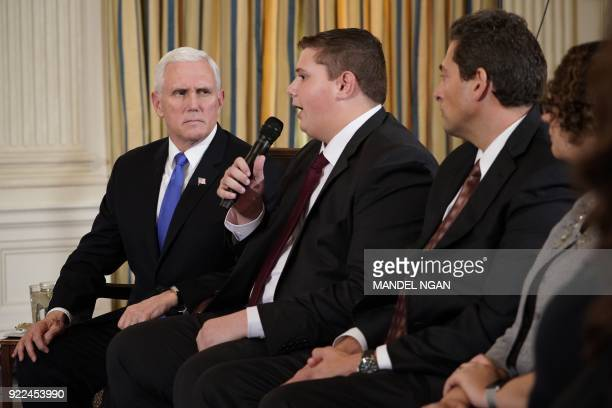 US Vice President Mike Pence takes part in a listening session on gun violence with teachers and students in the State Dining Room of the White House...