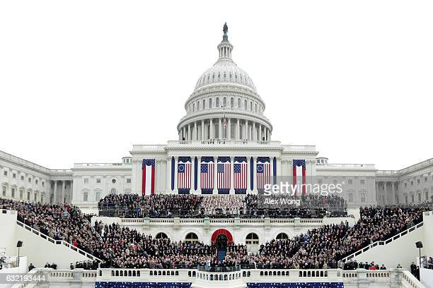 Vice President Mike Pence takes the oath of office from Supreme Court Justice Clarence Thomas on the West Front of the U.S. Capitol on January 20,...