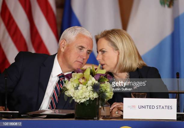S Vice President Mike Pence talks with Homeland Security Secretary Kirstjen Nielsen during the Conference for Prosperity and Security in Central...