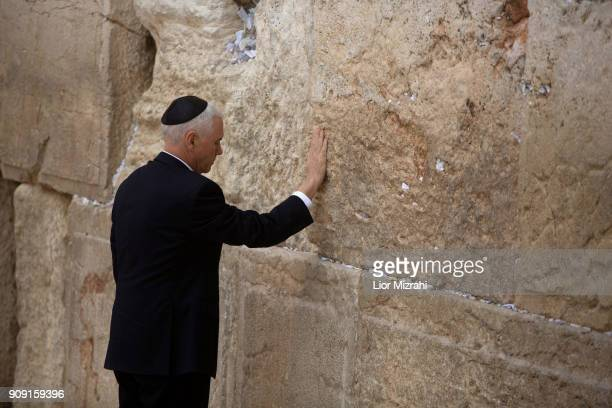 Vice President Mike Pence touches the wall durung a visit in the Western Wall on January 23 2018 in Jerusalem Israel Pence said on Monday that the US...