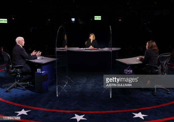 Vice President Mike Pence , US Democratic vice presidential nominee and Senator from California, Kamala Harris , moderator Washington Bureau Chief...