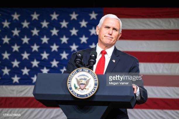 Vice President Mike Pence visits Rock Springs Church to campaign for GOP Senate candidates on January 4, 2021 in Milner, Georgia. Tomorrow is the...