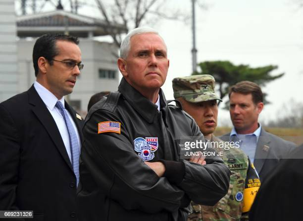 Vice President Mike Pence visits the truce village of Panmunjom in the Demilitarized Zone on the border between North and South Korea on April 17...