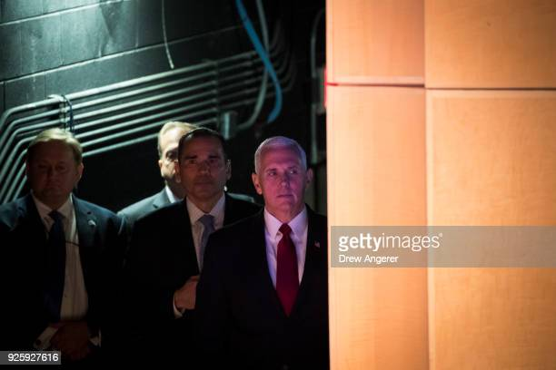 Vice President Mike Pence waits backstage before speaking during an event to mark the 15th anniversary of the Department of Homeland Security March 1...
