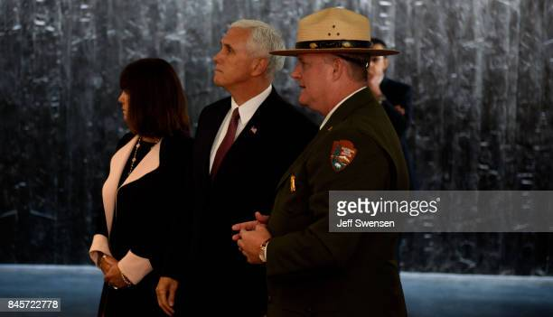Vice President Mike Pence walks through the displays the Flight 93 National Memorial on the 16th Anniversary ceremony of the September 11th terrorist...