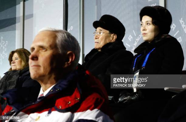 US Vice President Mike Pence watches the opening ceremony of the Pyeongchang 2018 Winter Olympic Games with North Korea's ceremonial head of state...