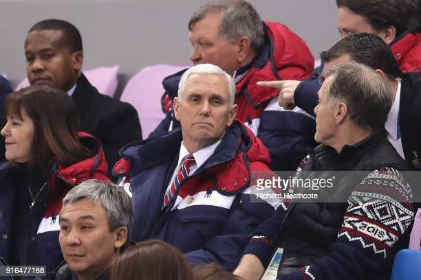 S Vice President Mike Pence wife Karen Pence and Fred Warmbier attend the Men's 1500m Short Track Speed Skating qualifying on day one of the...