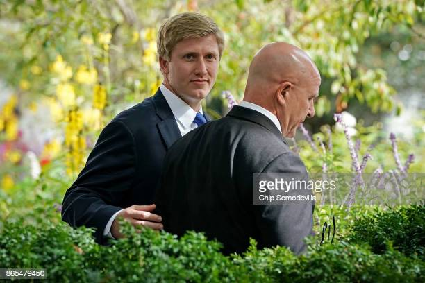 Vice President Mike Pence's Chief of Staff Nick Ayers and National Security Advisor HR McMaster arrive in the Rose Garden before President Donald...