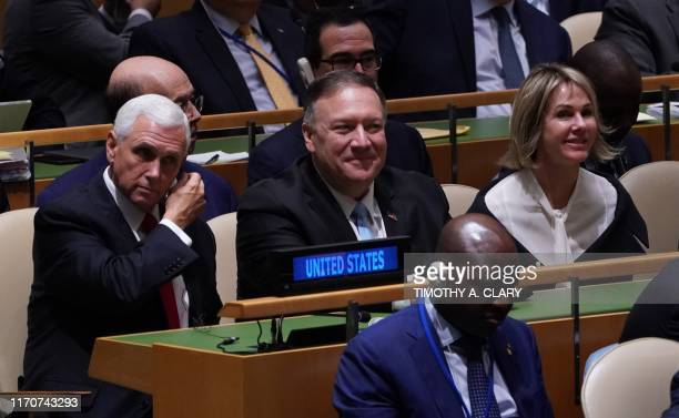 US Vice President Mike PenceUS Secretary of State Mike Pompeo and US Ambassador to the United Nations Kelly Craft listen as US President Donald Trump...