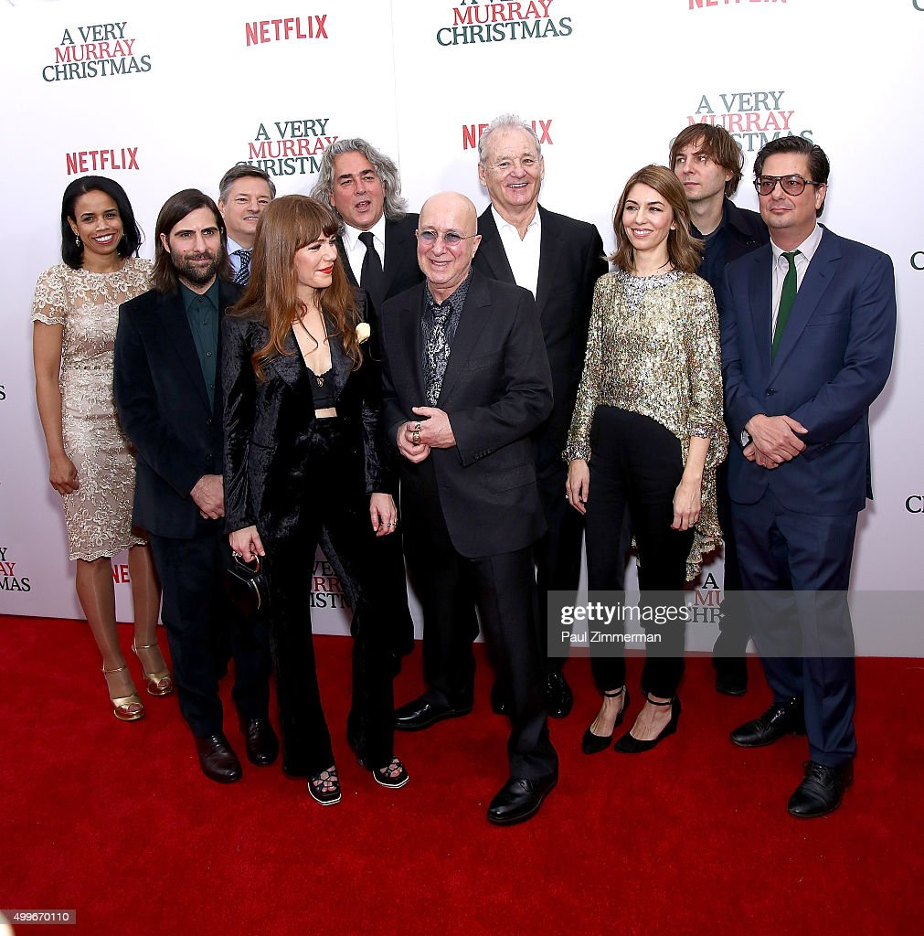 Vice President Netflix Content Acquisitions, Pauline Fischer, Ted Sarandos, Jason Schwartzman, Jenny Lewis, Mitch Glazer, Paul Shaffer, Bill Murray, Sofia Coppola, Thomas Mars and Roman Coppol aattend 'A Very Murray Christmas' New York premiere at Paris Theater on December 2, 2015 in New York City.