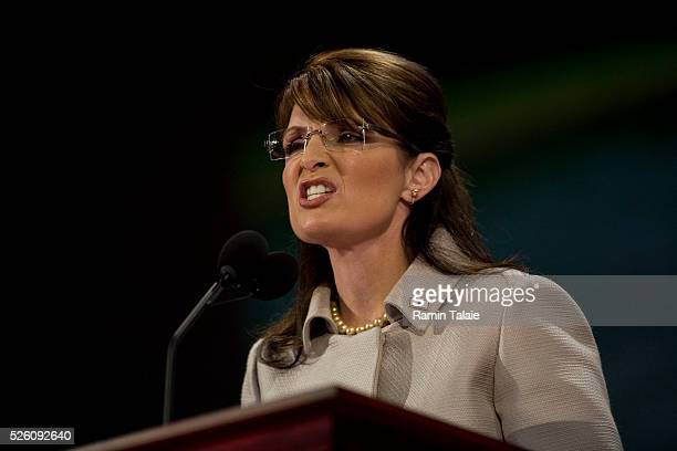 Vice President nominee Sarah Palin address the third session of the 2008 Republican National Convention in the Xcel Energy Center in St. Paul,...