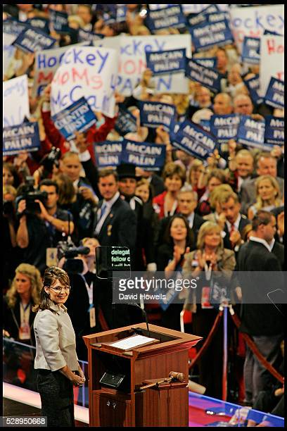 Vice President nominee Sarah Palin address the third session of the 2008 Republican National Convention in the Xcel Energy Center in St Paul Minnesota
