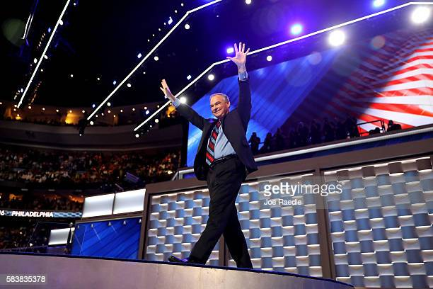 Vice President nominee Tim Kaine acknowledges the crowd after delivering remarks on the third day of the Democratic National Convention at the Wells...