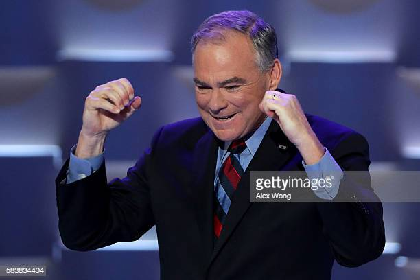 Vice President nominee Tim Kaine acknowledges the crowd prior to delivering remarks on the third day of the Democratic National Convention at the...