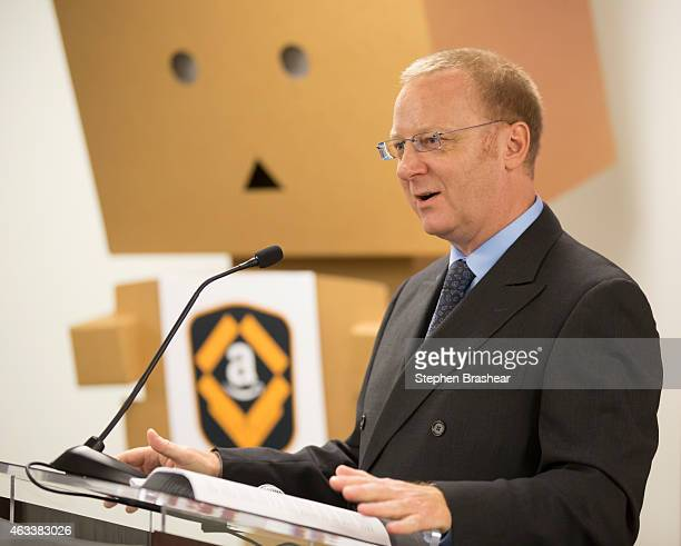 Vice President North America Operations at Amazoncom Mike Roth speaks during the opening of a Amazon Fulfillment Center on February 13 2015 in DuPont...