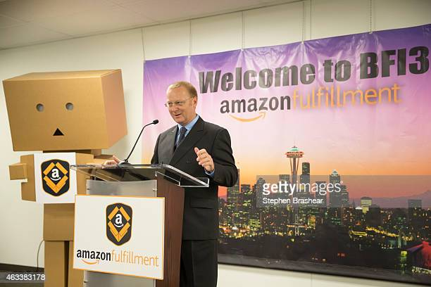 Vice President North America Operations at Amazoncom Mike Roth speaks during the official opening of a Amazon Fulfillment Center on February 13 2015...